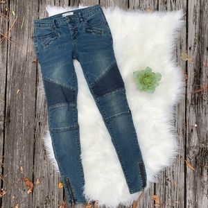 NWOT Free People Moto Zip Ankle Jeans Sz 24